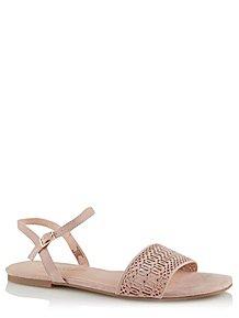 36ca77f6ba25 Pink Embellished Laser Cut Ankle Strap Sandals