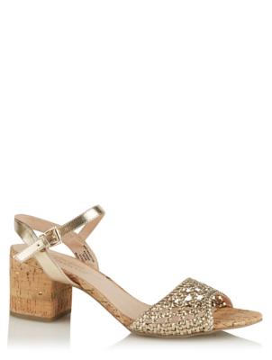 Gold Woven Cork Effect Heels
