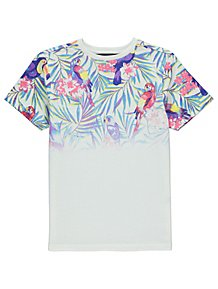 a3a31f10d72 White Tropical Birds T-Shirt. From £3