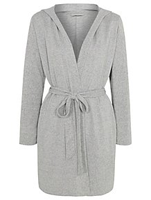 Light Grey Soft Knit Wrap Hooded Dressing Gown 4d01a62b5