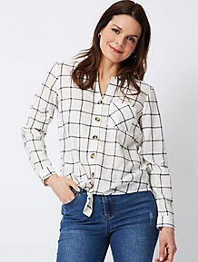 792bf39d44a5 White Check Print Tie-Front Blouse