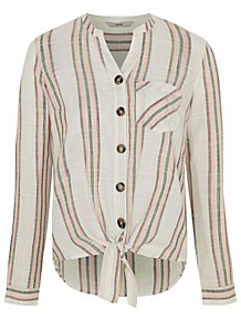 5195add3f7d2f4 Pastel Stripe Tie Front Button Blouse