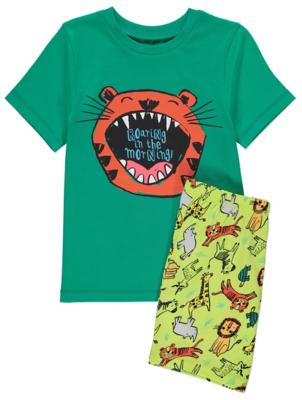 Green Tiger Print Slogan Short Pyjamas