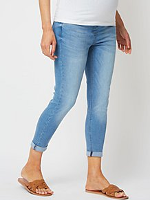 8d7c50a118e4e Maternity Light Wash Over Bump Skinny Crop Jeans