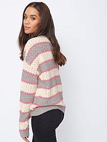 bd163ef3b0634 Pink Neon Striped Fleck Open Weave Jumper