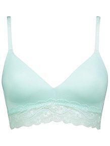 f7be848963 Blue Non-Wired Lace Trim Comfort Bra