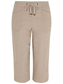 7198fe043a909 Sand Linen Blend Cropped Trousers