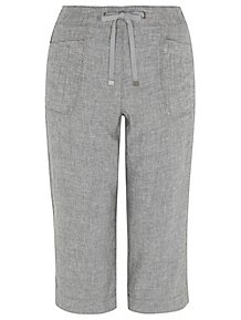 23801c1d9b07 Light Grey Linen Blend Cropped Trousers