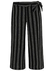 31247733dc4f1 Black Linen Blend Striped Culottes