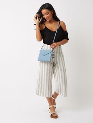Stripe Print Linen Blend Culottes