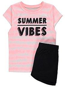 fe13587c8fd Pink Summer Vibes Slogan Short Pyjamas