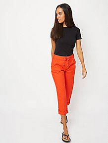 Red Cropped Poplin Trousers 148f29510