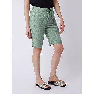 Green Linen Blend Knee Length Shorts