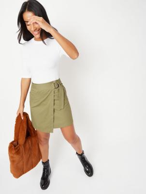 Khaki Green Wrap Utility Skirt