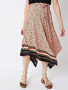 Maternity Pink Animal Print Asymmetric Midi Skirt e0b2353118