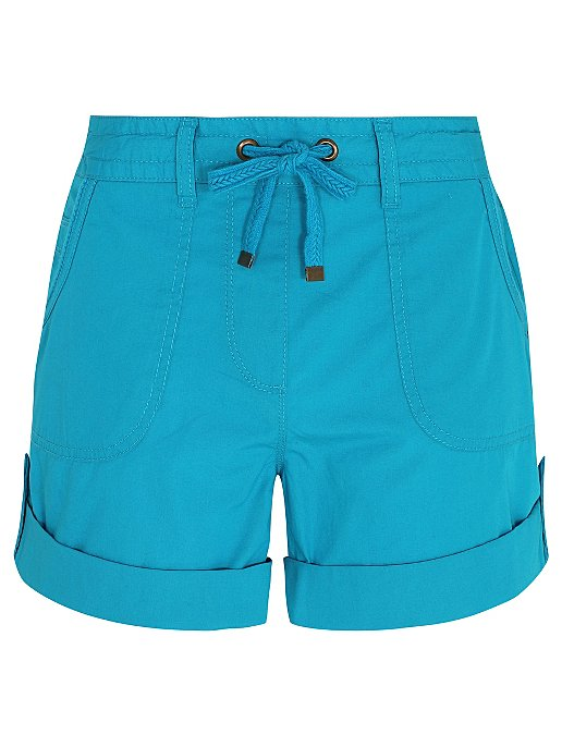 d7aba50ad4 Blue Button Cuffed Poplin Shorts | Women | George