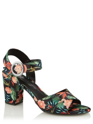 Black Tropical Satin Cross Toe Heels
