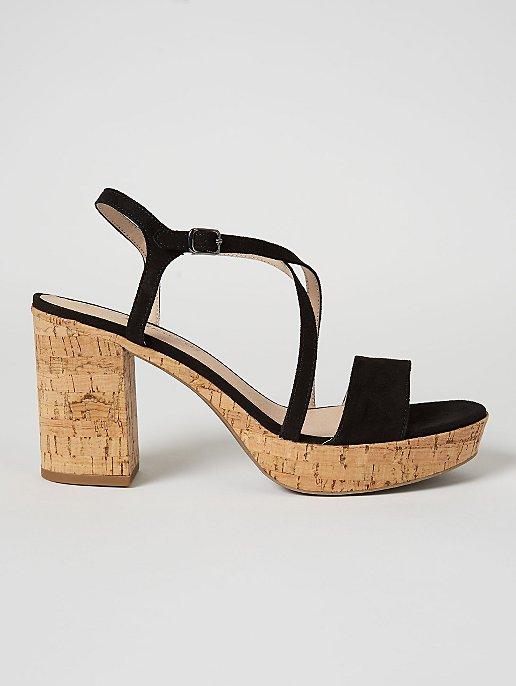 07dcd5fa8e9 Black Suede Effect Cork Style Block Heel Sandals
