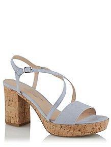 09e66777a92 Blue Faux-Suede Ankle Strap Cork Block Heels