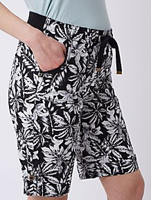96000259eba Black Tropical Print Knee Length Poplin Shorts