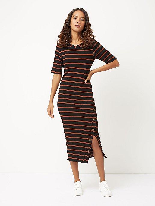 6cb220dc11b Black Striped Button Detail Jersey Midi Dress