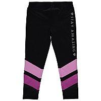 9b593b4ad80b9 Black Glitter Slogan Panelled Sports Leggings | Kids | George