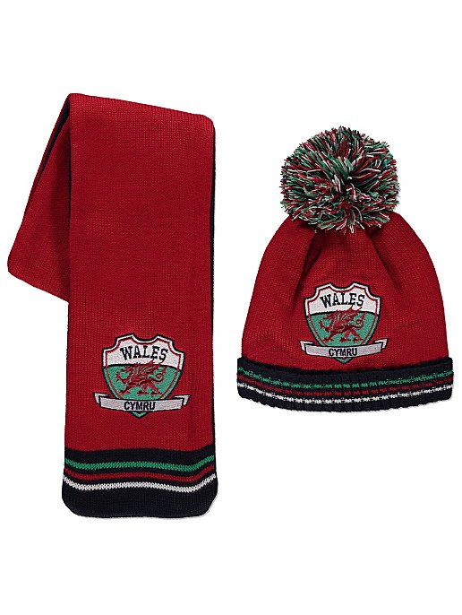Red Wales Fleece Lined Hat and Scarf. Reset b9ea87989a7d