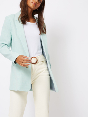 Mint Green Textured Open Front Formal Blazer