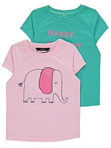 f40ee6d54aad8 Assorted Pink and Green T Shirts 2 Pack