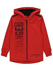 87fdbfdc93c2 Red Never Change Embossed Zip Through Hoodie