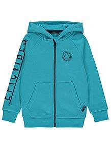 b53dc61af314 Turquoise Textured Slogan Zip Through Hoodie