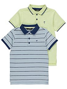 1a1817d089f Palm Tree Striped Polo Shirts 2 Pack