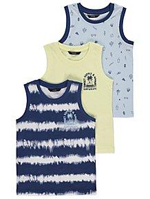 345443db55fe26 Blue Surf and Skate Vest Tops 3 Pack