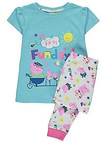 Peppa Pig Family Funday Slogan Short Sleeve Pyjamas