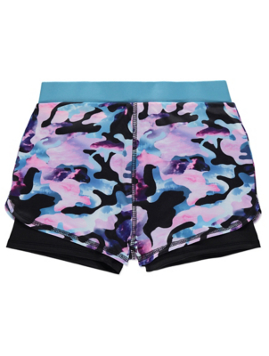 Lilac Camo Print Double Layer Sports Shorts