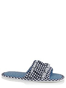 95135f3477f Navy Gingham Ruffled Open Toe Slippers