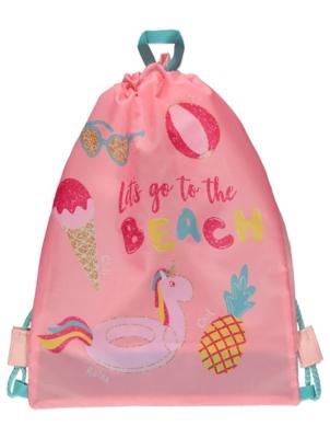 Peach Slogan Unicorn Drawstring Bag