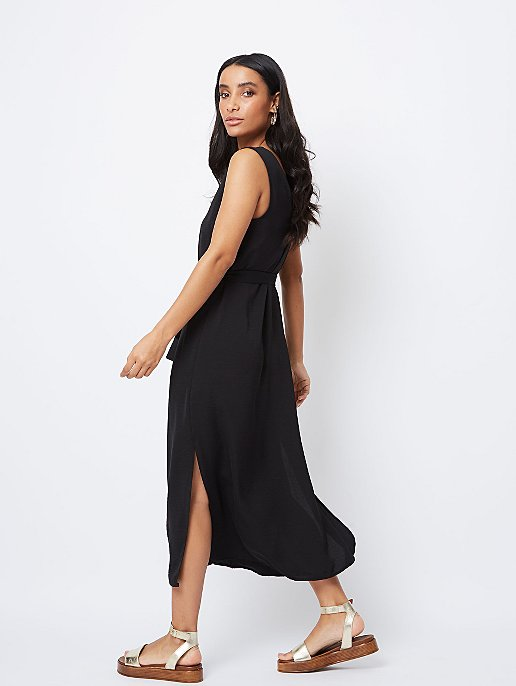 c72c10526e0 Black Belted Button-Front Midaxi Dress. Video