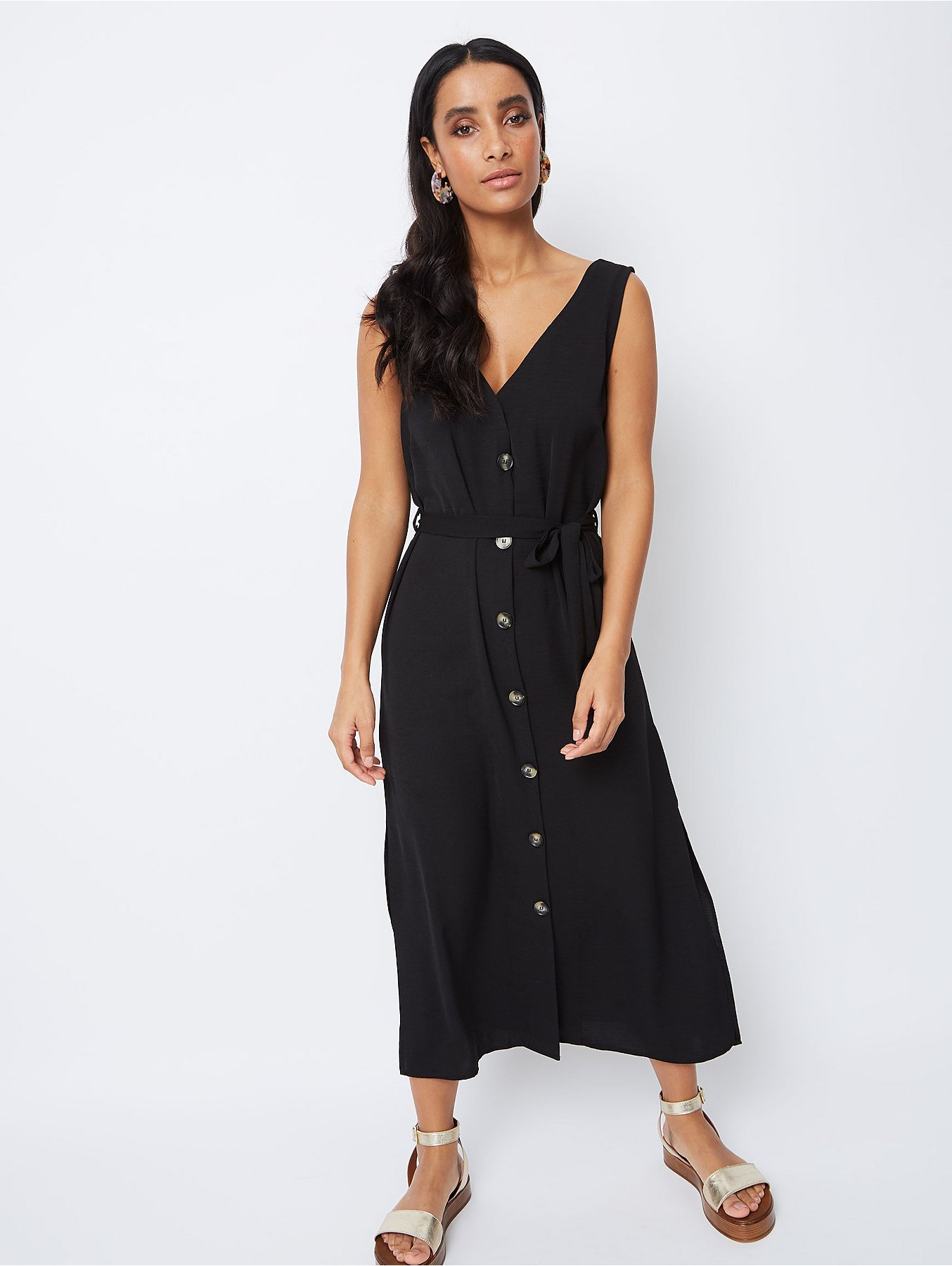 c9b132ea11a Black Belted Button-Front Midaxi Dress. Reset