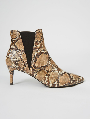 Light Brown Snake Print Heeled Chelsea Boots
