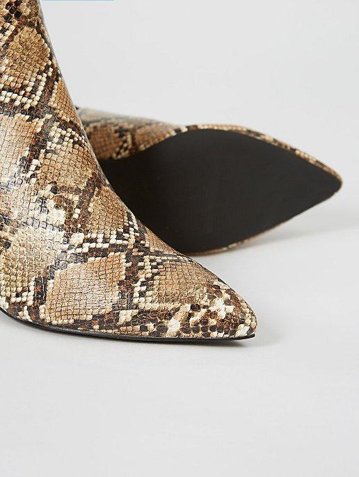 5c0e94c1a50b Light Brown Snake Print Heeled Chelsea Boots | Women | George