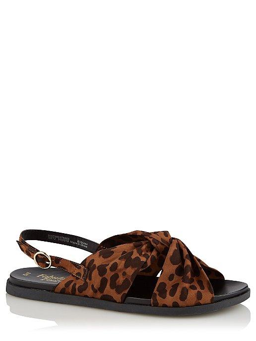 24eca554722c Brown Leopard Print Knotted Sling Back Sandals   Women   George