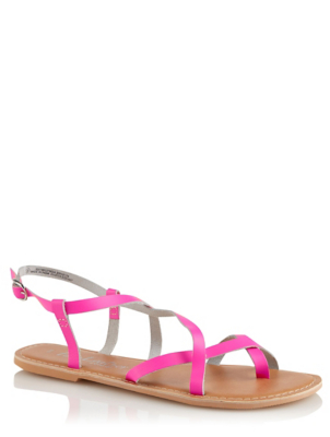 Pink Leather Strappy Sandals
