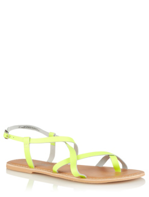 Neon Yellow Leather Strappy Sandals