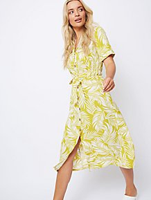 af7399a8f29 Mustard Palm Print Midi Shirt Dress