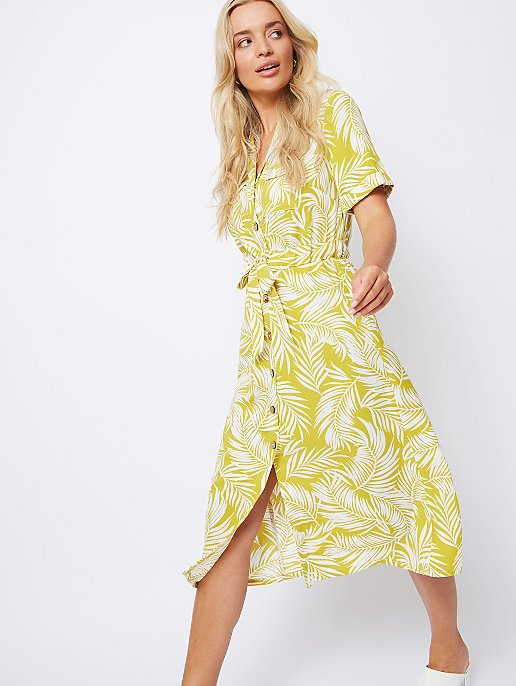 382192fa994 Mustard Palm Print Midi Shirt Dress. Video