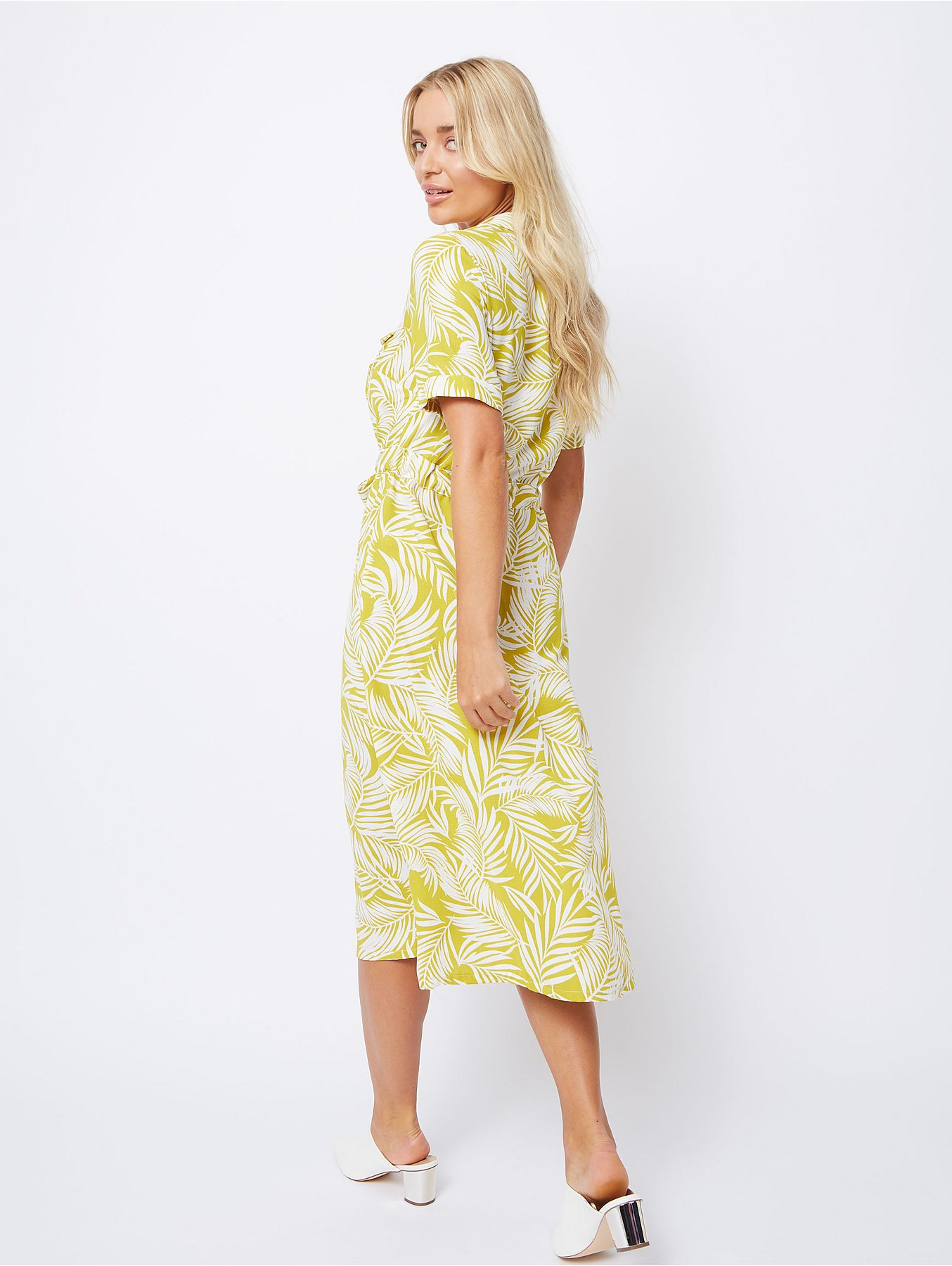 385d3e7c870 Mustard Palm Print Midi Shirt Dress. Reset