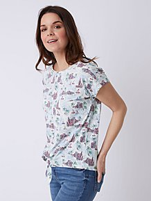 f1cded040c903 White Beach Pattern Tie-Front Top