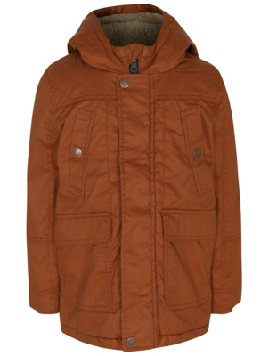 Burnt Orange Padded Wax Effect Jacket