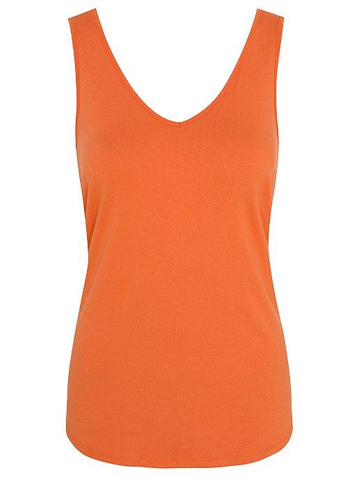 3ab59e0a732e66 Orange V-Neck Vest Top